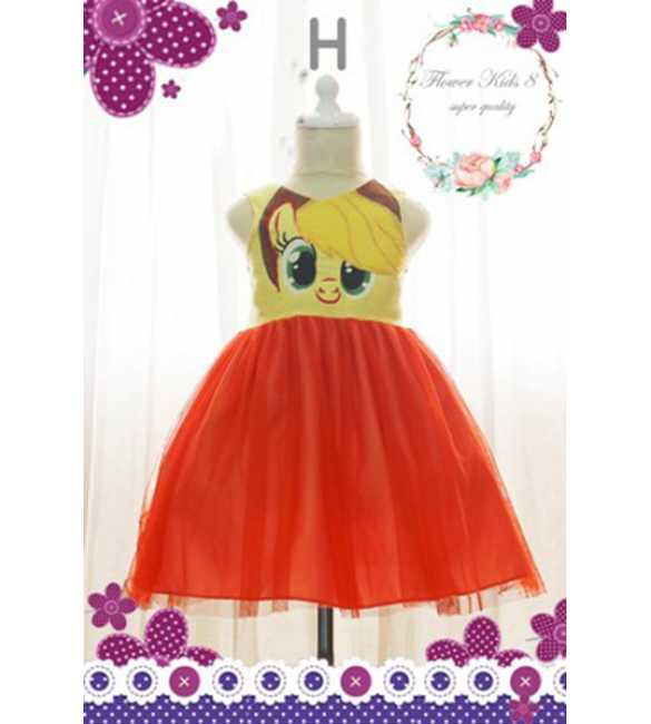 Dress Flower Kids Pony Orange